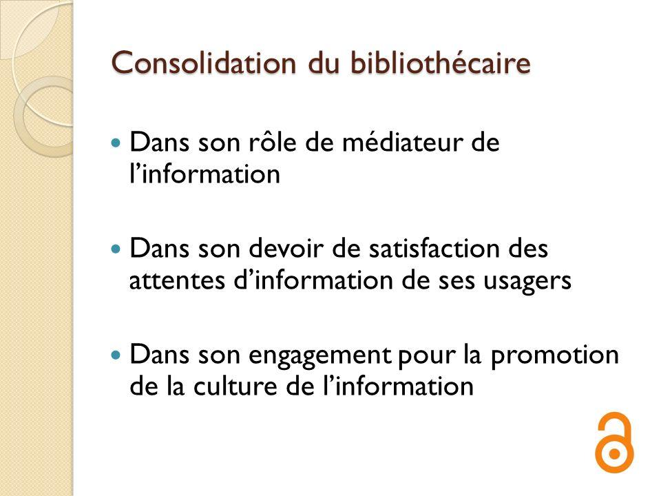 Consolidation du bibliothécaire Dans son rôle de médiateur de linformation Dans son devoir de satisfaction des attentes dinformation de ses usagers Da