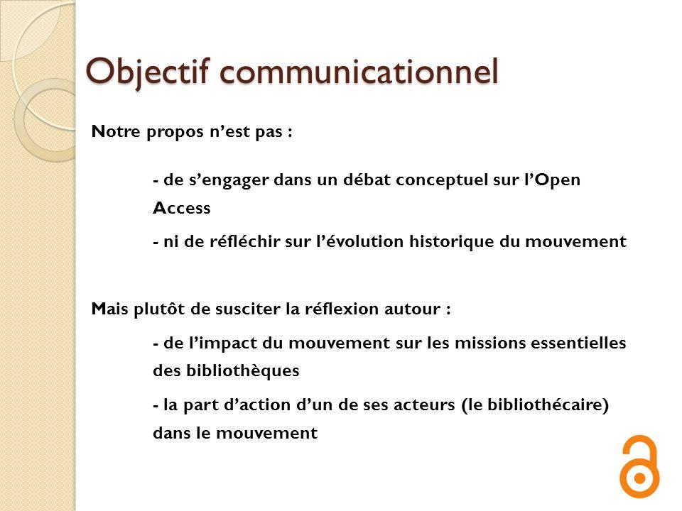 Objectif communicationnel Notre propos nest pas : - de sengager dans un débat conceptuel sur lOpen Access - ni de réfléchir sur lévolution historique