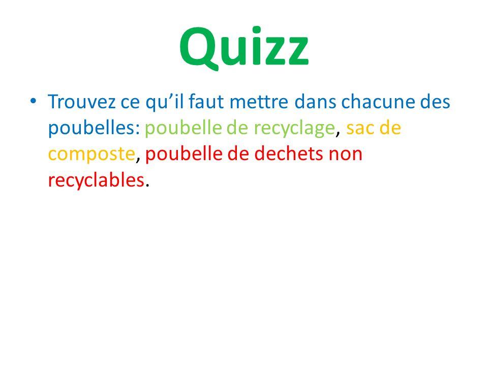 Quizz Trouvez ce quil faut mettre dans chacune des poubelles: poubelle de recyclage, sac de composte, poubelle de dechets non recyclables.