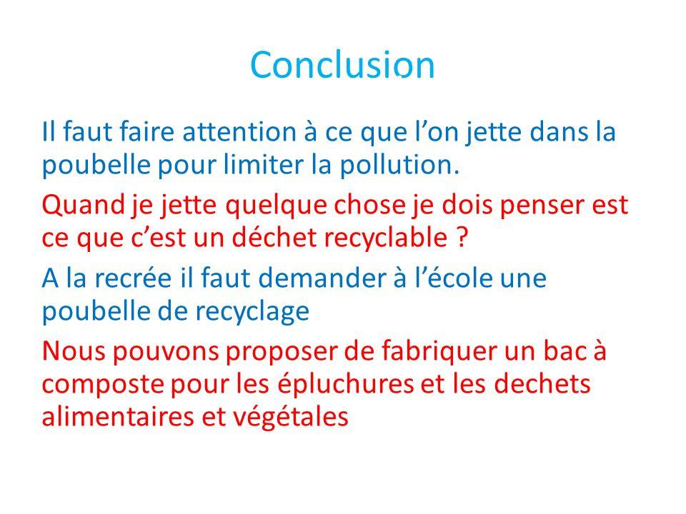 Conclusion Il faut faire attention à ce que lon jette dans la poubelle pour limiter la pollution. Quand je jette quelque chose je dois penser est ce q