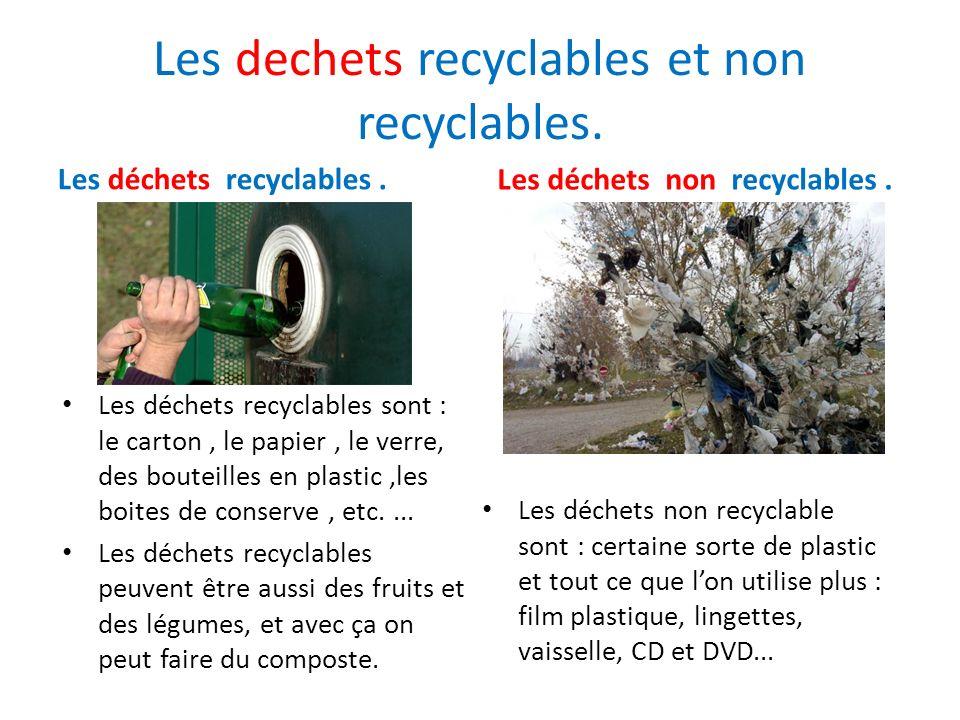 Les dechets recyclables et non recyclables. Les déchets recyclables. Les déchets recyclables sont : le carton, le papier, le verre, des bouteilles en