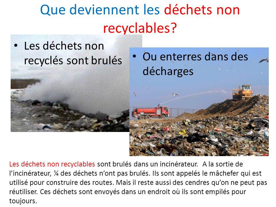 Que deviennent les déchets non recyclables? Les déchets non recyclés sont brulés Ou enterres dans des décharges Les déchets non recyclables sont brulé
