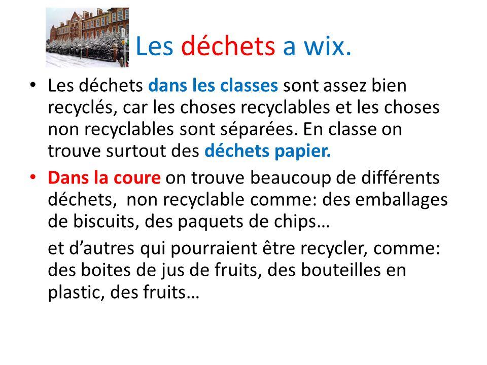 Les déchets a wix. Les déchets dans les classes sont assez bien recyclés, car les choses recyclables et les choses non recyclables sont séparées. En c