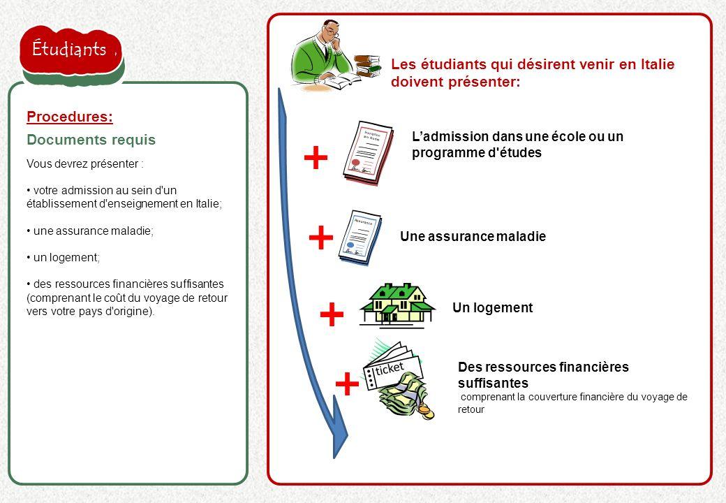 la proposition de l'employeur est acceptée Vous devrez présenter : votre admission au sein d'un établissement d'enseignement en Italie; une assurance