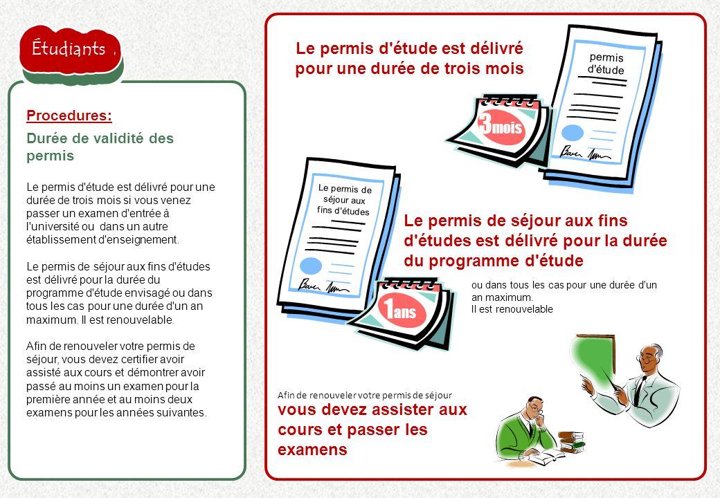 la proposition de l'employeur est acceptée Le permis d'étude est délivré pour une durée de trois mois si vous venez passer un examen d'entrée à l'univ