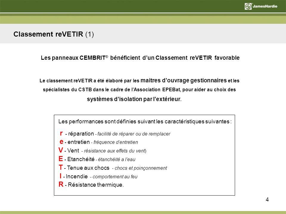 5 En application des règles dattribution définies dans ce document, le CEMBRIT® sur ossatures bois ou métalliques obtient le classement r 2 e 3 V* 1à4 E 3 T** 1+ ou 3 I 4 R 4 Classement reVETIR (2)