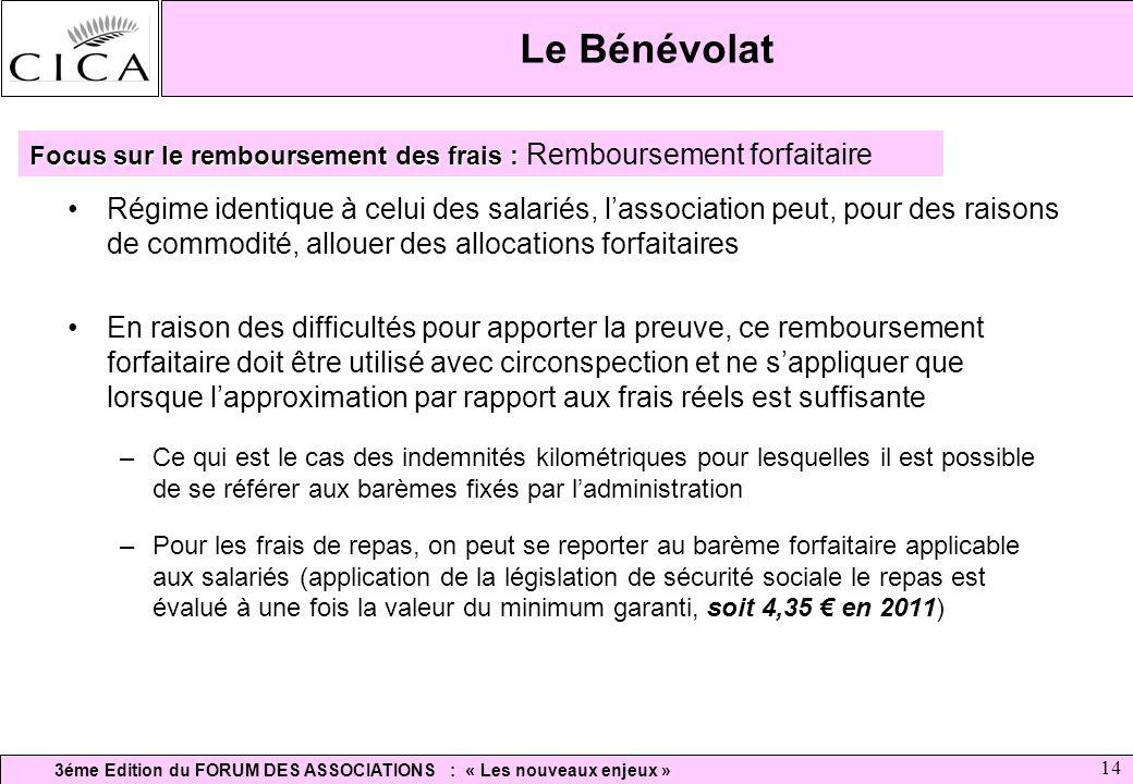 3éme Edition du FORUM DES ASSOCIATIONS : « Les nouveaux enjeux » 14 Le Bénévolat Régime identique à celui des salariés, lassociation peut, pour des ra