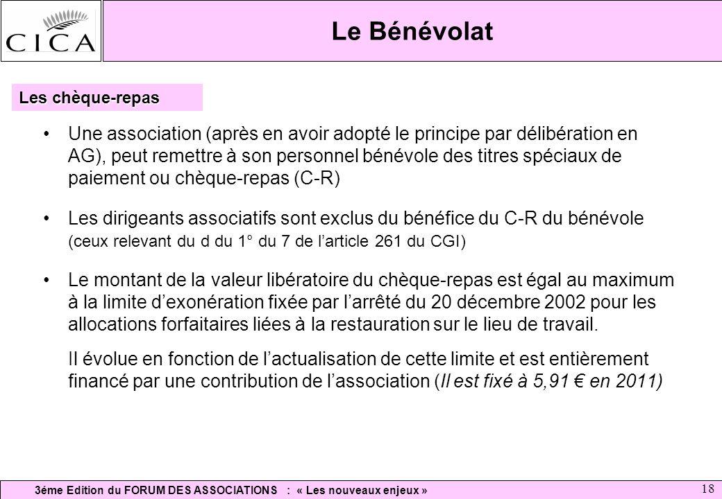 3éme Edition du FORUM DES ASSOCIATIONS : « Les nouveaux enjeux » 18 Le Bénévolat Une association (après en avoir adopté le principe par délibération e
