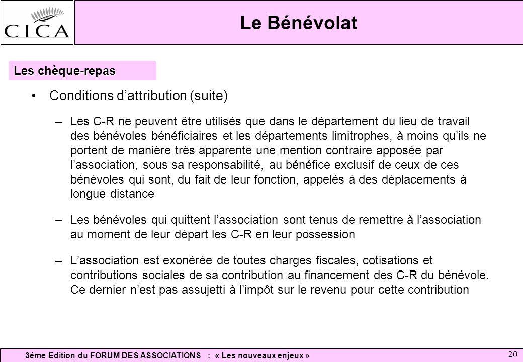 3éme Edition du FORUM DES ASSOCIATIONS : « Les nouveaux enjeux » 20 Le Bénévolat Conditions dattribution (suite) –Les C-R ne peuvent être utilisés que