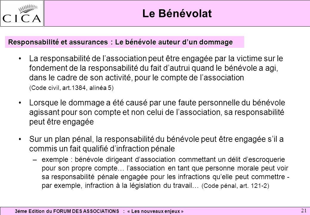 3éme Edition du FORUM DES ASSOCIATIONS : « Les nouveaux enjeux » 21 Le Bénévolat La responsabilité de lassociation peut être engagée par la victime su