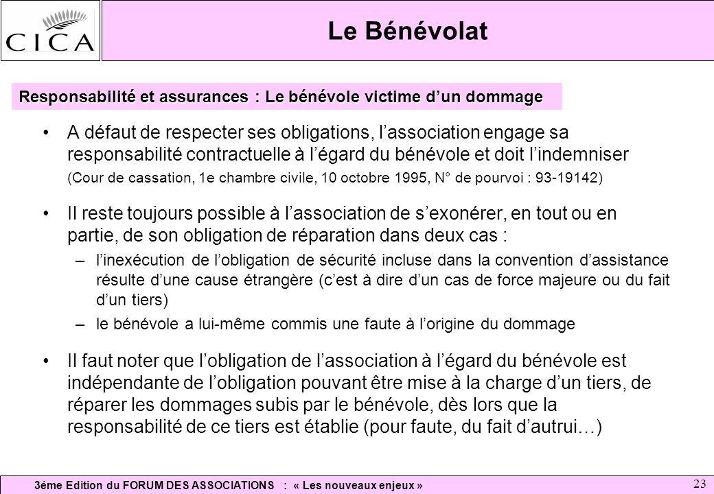 3éme Edition du FORUM DES ASSOCIATIONS : « Les nouveaux enjeux » 23 Le Bénévolat A défaut de respecter ses obligations, lassociation engage sa respons