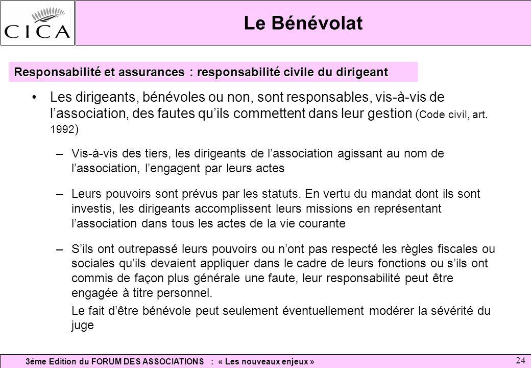 3éme Edition du FORUM DES ASSOCIATIONS : « Les nouveaux enjeux » 24 Le Bénévolat Les dirigeants, bénévoles ou non, sont responsables, vis-à-vis de las