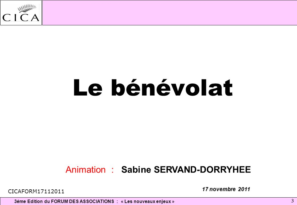 3éme Edition du FORUM DES ASSOCIATIONS : « Les nouveaux enjeux » 33 Le bénévolat 17 novembre 2011 Animation : Sabine SERVAND-DORRYHEE CICAFORM17112011