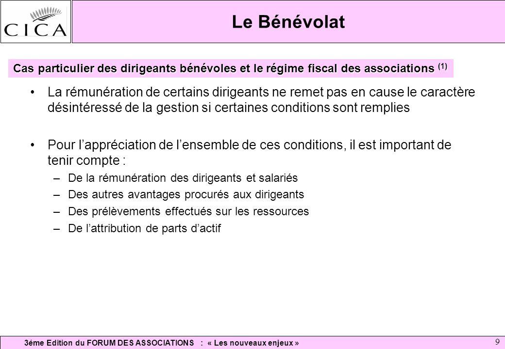 3éme Edition du FORUM DES ASSOCIATIONS : « Les nouveaux enjeux » 9 Le Bénévolat La rémunération de certains dirigeants ne remet pas en cause le caract