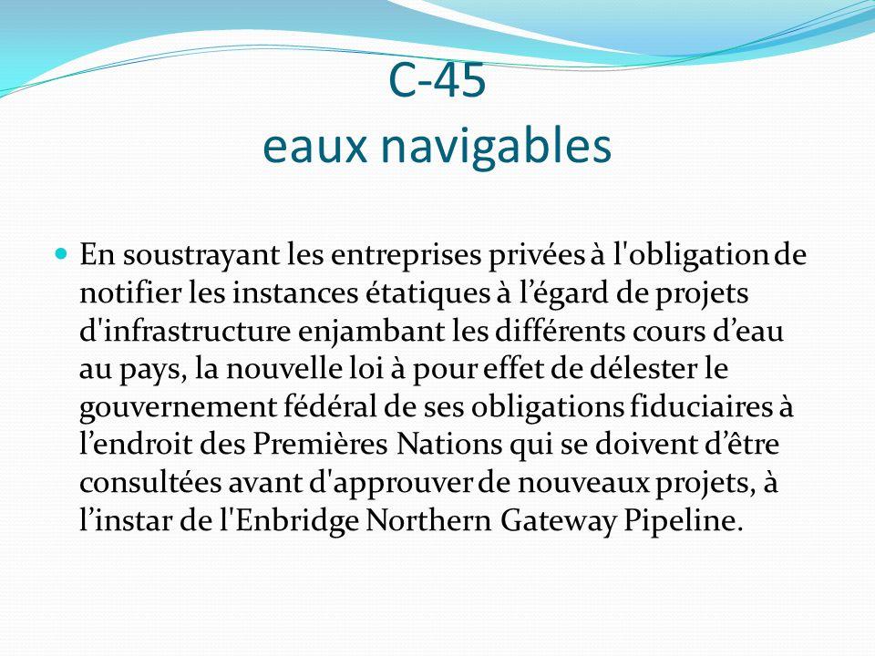 C-45 eaux navigables En soustrayant les entreprises privées à l'obligation de notifier les instances étatiques à légard de projets d'infrastructure en