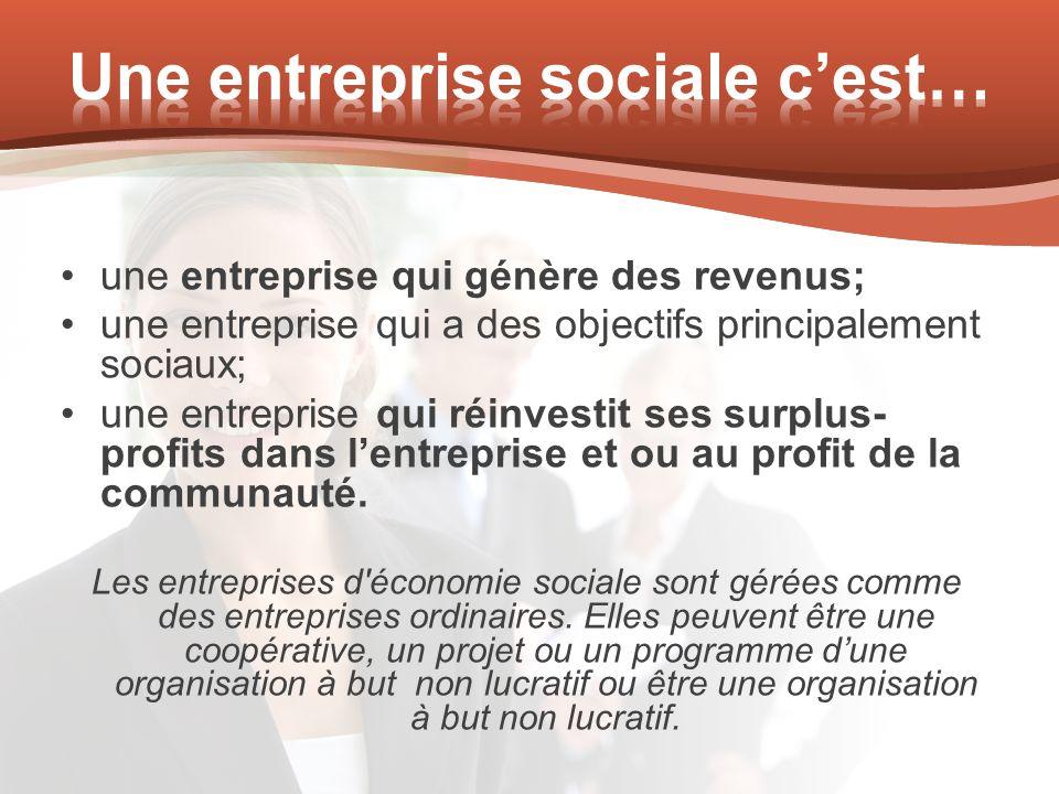 une entreprise qui génère des revenus; une entreprise qui a des objectifs principalement sociaux; une entreprise qui réinvestit ses surplus- profits d