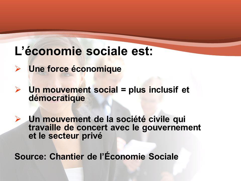 Léconomie sociale est: Une force économique Un mouvement social = plus inclusif et démocratique Un mouvement de la société civile qui travaille de con