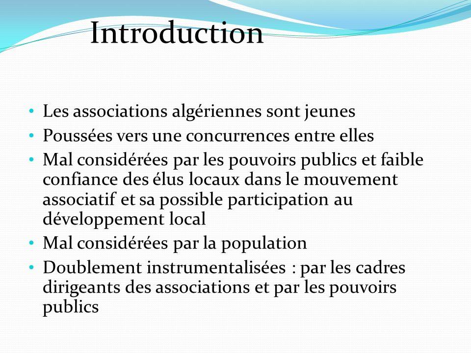 Introduction Les associations algériennes sont jeunes Poussées vers une concurrences entre elles Mal considérées par les pouvoirs publics et faible confiance des élus locaux dans le mouvement associatif et sa possible participation au développement local Mal considérées par la population Doublement instrumentalisées : par les cadres dirigeants des associations et par les pouvoirs publics