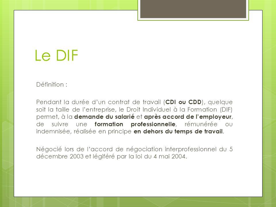 Le DIF Définition : Pendant la durée dun contrat de travail ( CDI ou CDD ), quelque soit la taille de lentreprise, le Droit Individuel à la Formation