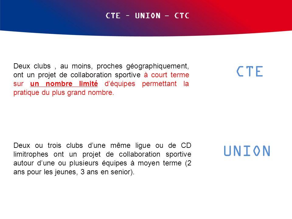 CTE – UNION - CTC Deux clubs, au moins, proches géographiquement, ont un projet de collaboration sportive à court terme sur un nombre limité déquipes permettant la pratique du plus grand nombre.
