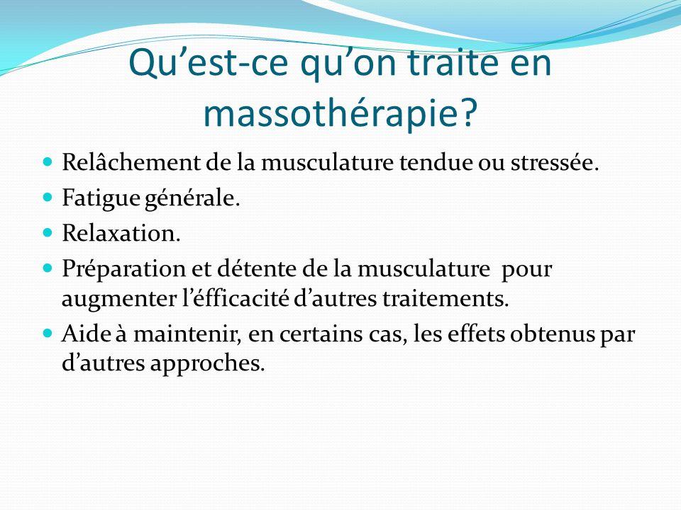 Quest-ce quon traite en massothérapie? Relâchement de la musculature tendue ou stressée. Fatigue générale. Relaxation. Préparation et détente de la mu