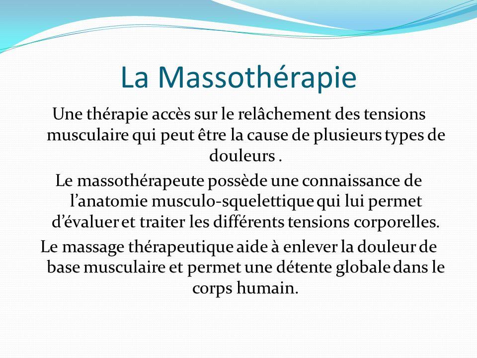 La Massothérapie Une thérapie accès sur le relâchement des tensions musculaire qui peut être la cause de plusieurs types de douleurs. Le massothérapeu