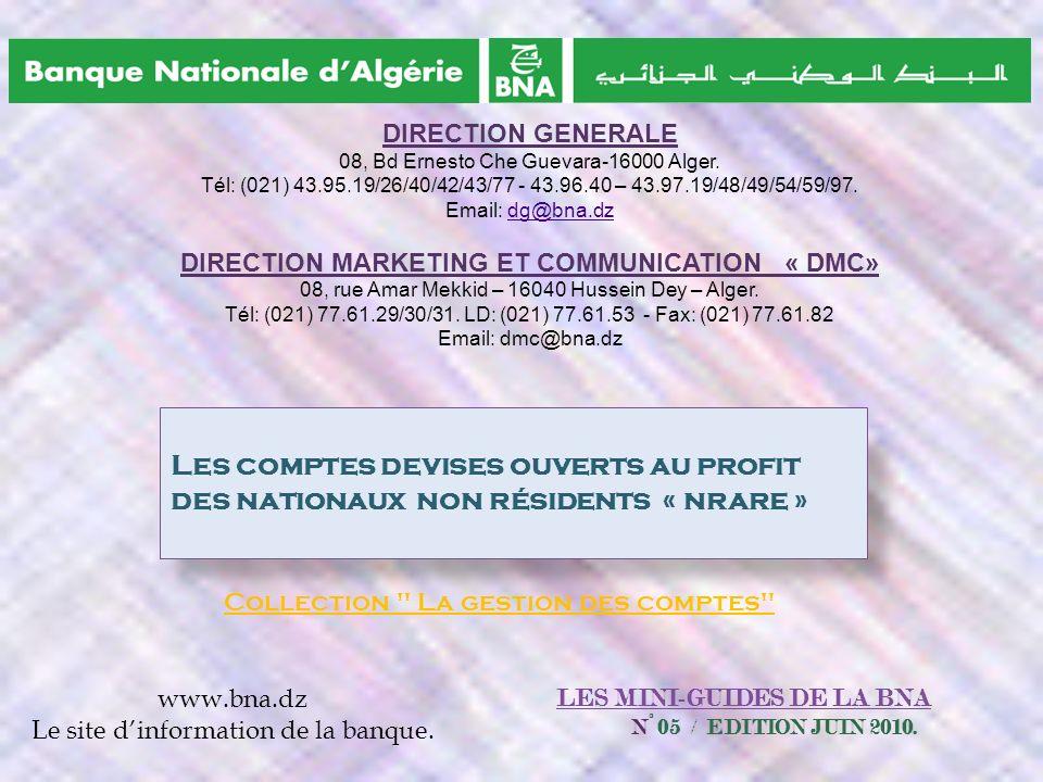 LES MINI-GUIDES DE LA BNA N° 05 / EDITION JUIN 2010.