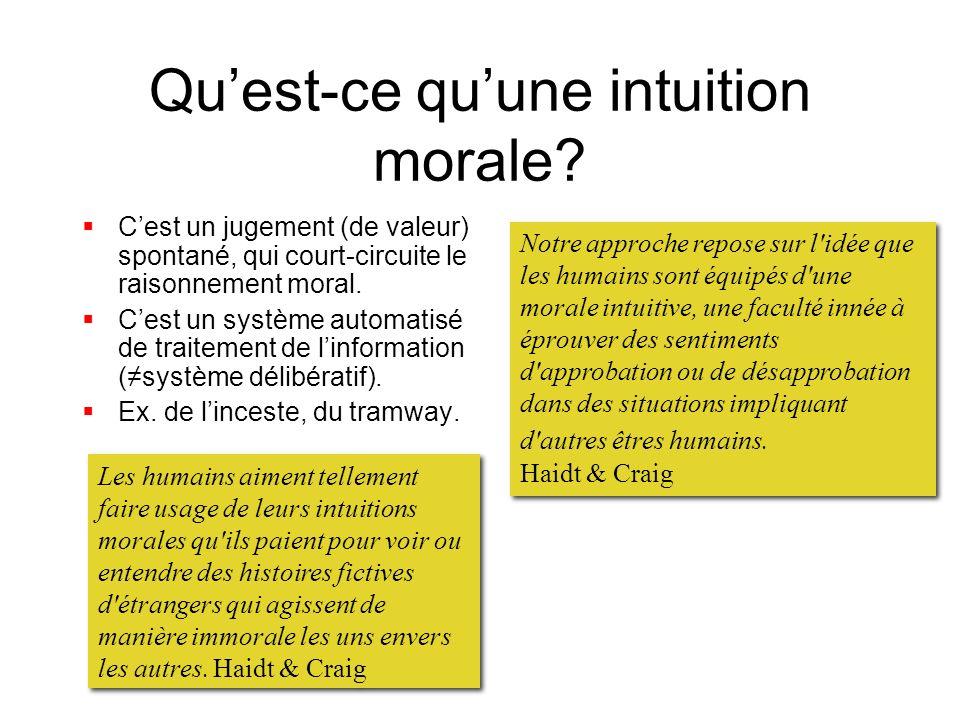 Quest-ce quune intuition morale? Cest un jugement (de valeur) spontané, qui court-circuite le raisonnement moral. Cest un système automatisé de traite