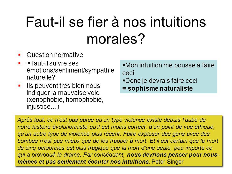 Faut-il se fier à nos intuitions morales? Question normative faut-il suivre ses émotions/sentiment/sympathie naturelle? Ils peuvent très bien nous ind