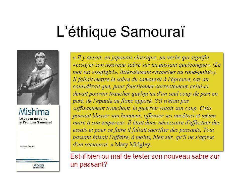 Léthique Samouraï « Il y aurait, en japonais classique, un verbe qui signifie «essayer son nouveau sabre sur un passant quelconque». (Le mot est «tsuj