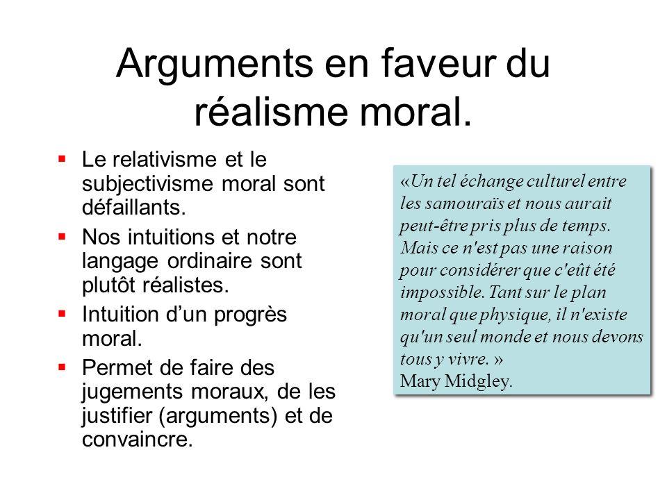 Arguments en faveur du réalisme moral. Le relativisme et le subjectivisme moral sont défaillants. Nos intuitions et notre langage ordinaire sont plutô