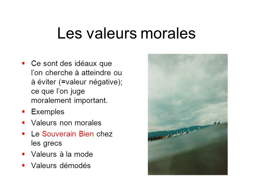 Les valeurs morales Ce sont des idéaux que lon cherche à atteindre ou à éviter (=valeur négative); ce que lon juge moralement important. Exemples Vale
