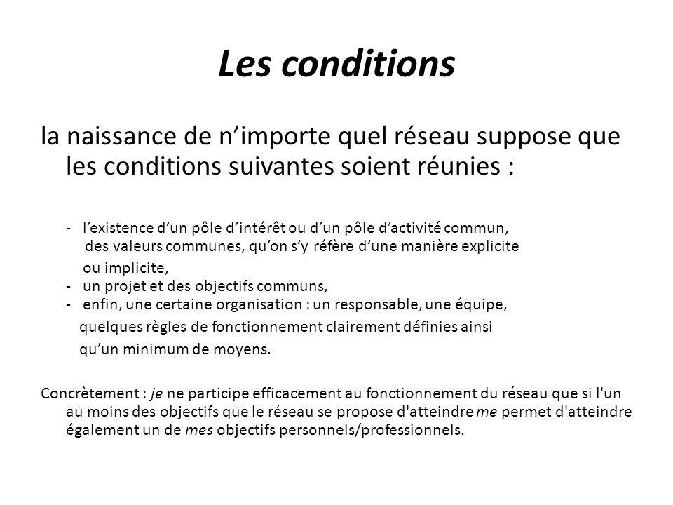 Les conditions la naissance de nimporte quel réseau suppose que les conditions suivantes soient réunies : - lexistence dun pôle dintérêt ou dun pôle d