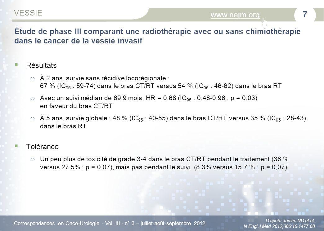 Correspondances en Onco-Urologie - Vol. III - n° 3 – juillet-août-septembre 2012 www.nejm.org VESSIE Daprès James ND et al., N Engl J Med 2012;366:16: