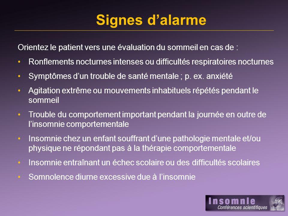 Signes dalarme Orientez le patient vers une évaluation du sommeil en cas de : Ronflements nocturnes intenses ou difficultés respiratoires nocturnes Symptômes dun trouble de santé mentale ; p.