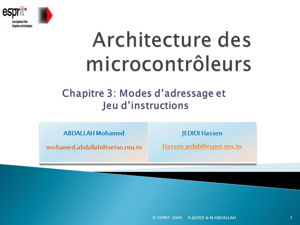 © ESPRIT 2009 H.JEDIDI & M.ABDALLAH1 Chapitre 3: Modes dadressage et Jeu dinstructions Jeu dinstructions