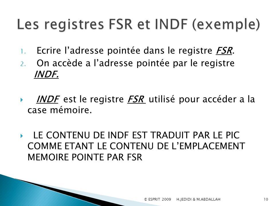 1. Ecrire ladresse pointée dans le registre FSR. 2. On accède a ladresse pointée par le registre INDF. INDF est le registre FSR utilisé pour accéder a