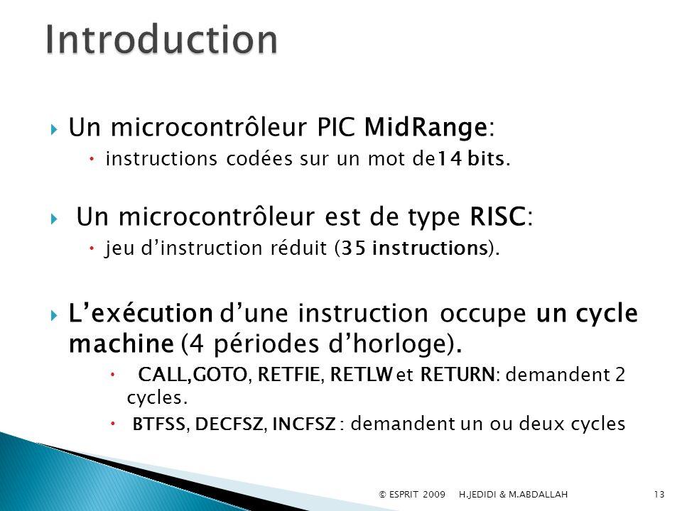 Un microcontrôleur PIC MidRange: instructions codées sur un mot de14 bits. Un microcontrôleur est de type RISC: jeu dinstruction réduit (35 instructio