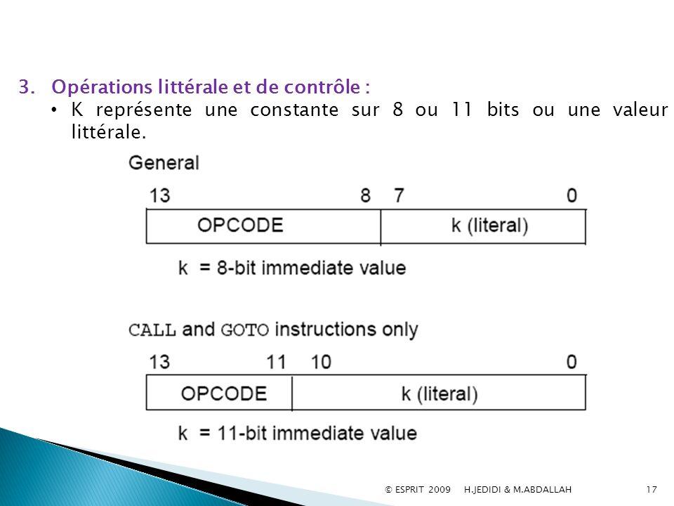 3.Opérations littérale et de contrôle : K représente une constante sur 8 ou 11 bits ou une valeur littérale. 17© ESPRIT 2009 H.JEDIDI & M.ABDALLAH