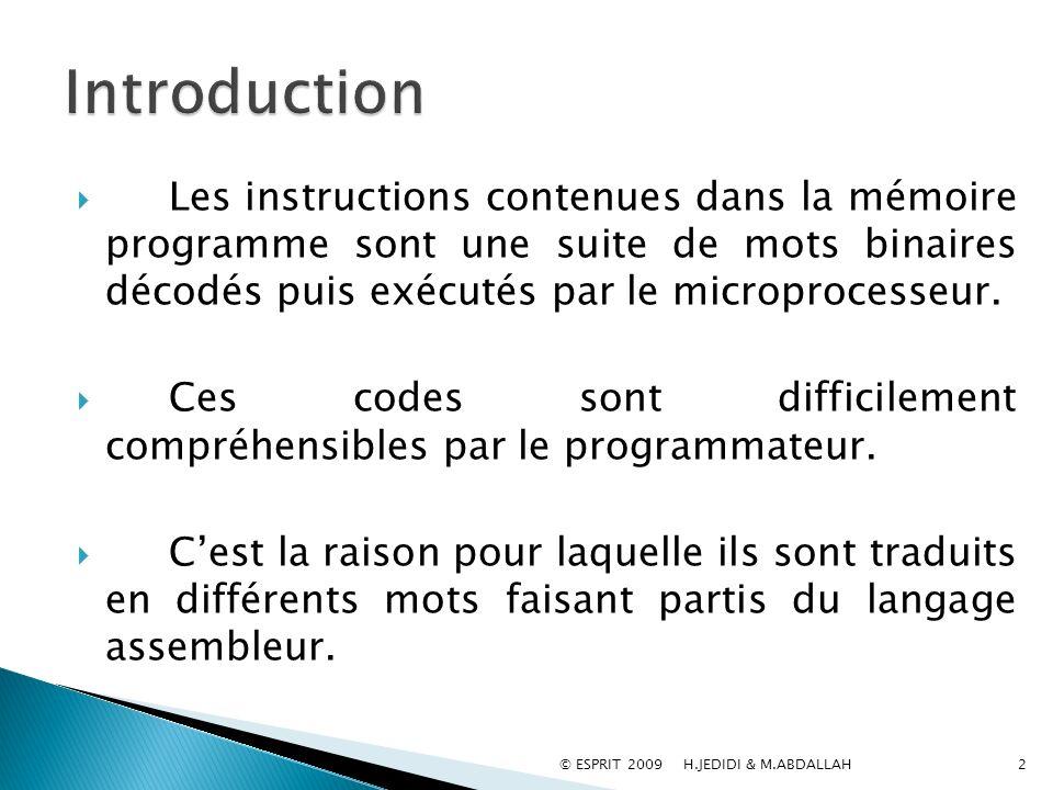 Les instructions contenues dans la mémoire programme sont une suite de mots binaires décodés puis exécutés par le microprocesseur. Ces codes sont diff