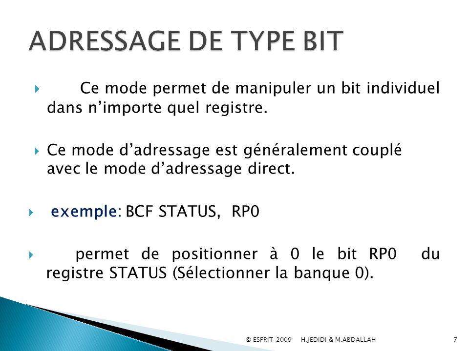 Ce mode permet de manipuler un bit individuel dans nimporte quel registre. Ce mode dadressage est généralement couplé avec le mode dadressage direct.