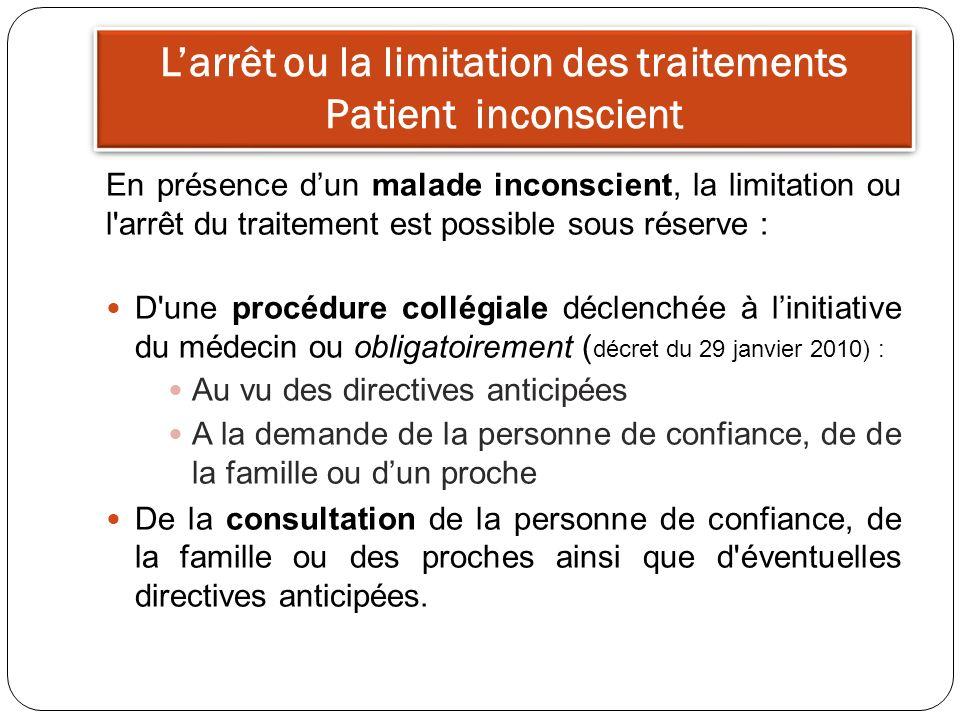 Larrêt ou la limitation des traitements Patient inconscient En présence dun malade inconscient, la limitation ou l'arrêt du traitement est possible so