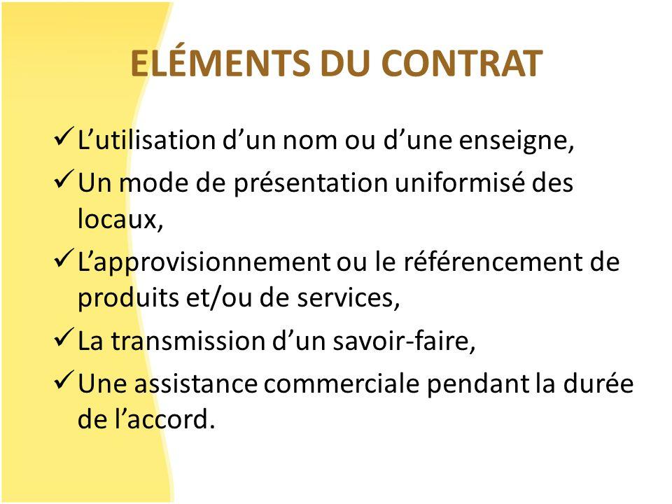 ELÉMENTS DU CONTRAT Lutilisation dun nom ou dune enseigne, Un mode de présentation uniformisé des locaux, Lapprovisionnement ou le référencement de pr
