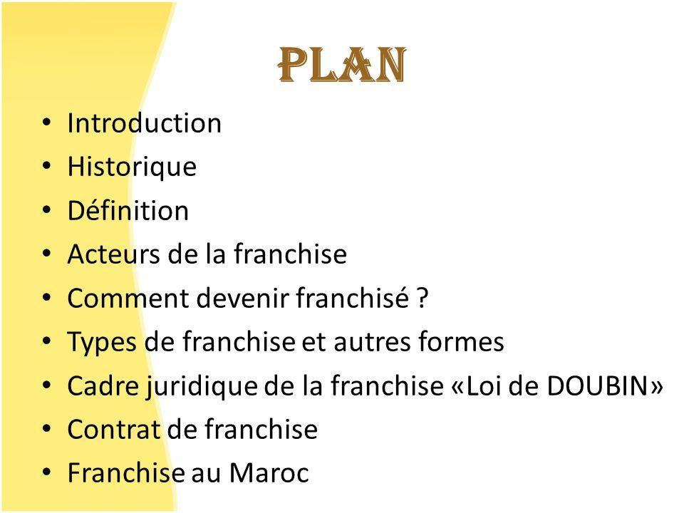 LE CONTRAT DE FRANCHISE Contrat innommé : non défini dans la loi.