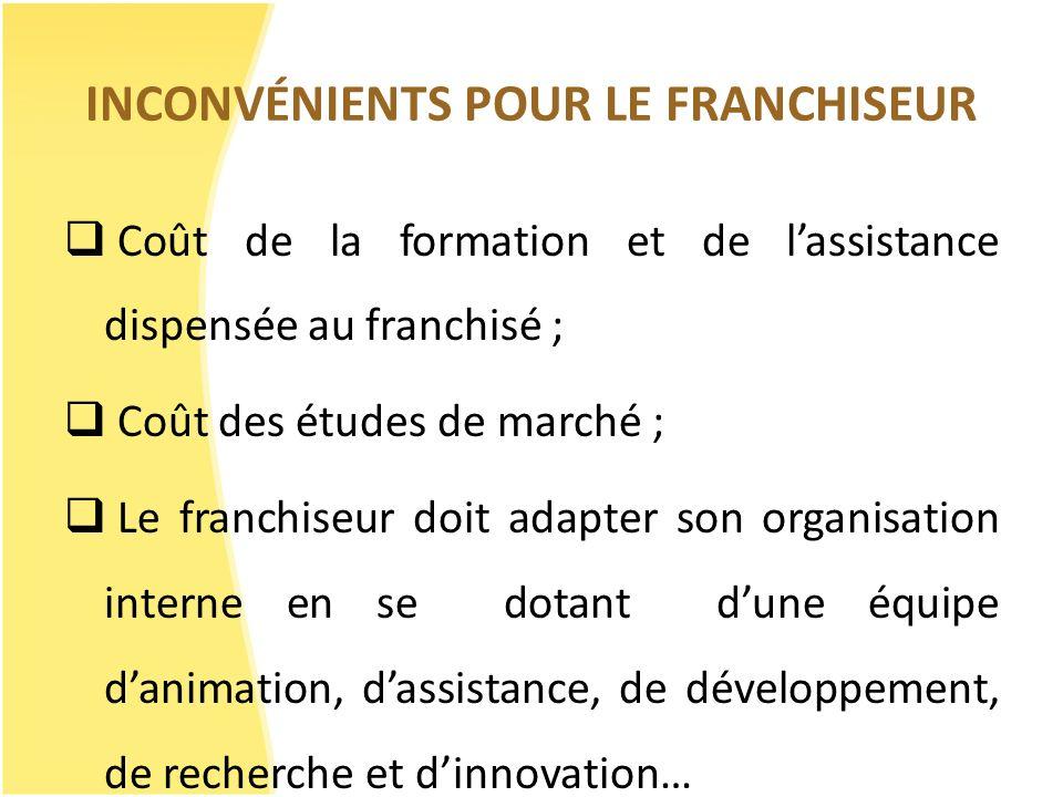 INCONVÉNIENTS POUR LE FRANCHISEUR Coût de la formation et de lassistance dispensée au franchisé ; Coût des études de marché ; Le franchiseur doit adap