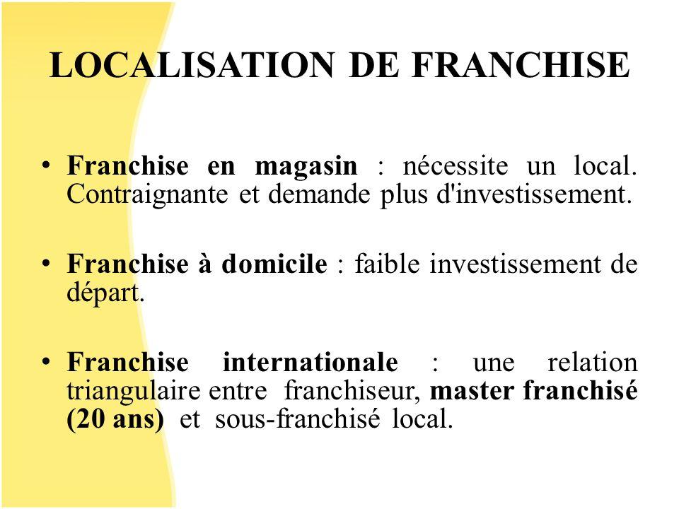 LOCALISATION DE FRANCHISE Franchise en magasin : nécessite un local. Contraignante et demande plus d'investissement. Franchise à domicile : faible inv
