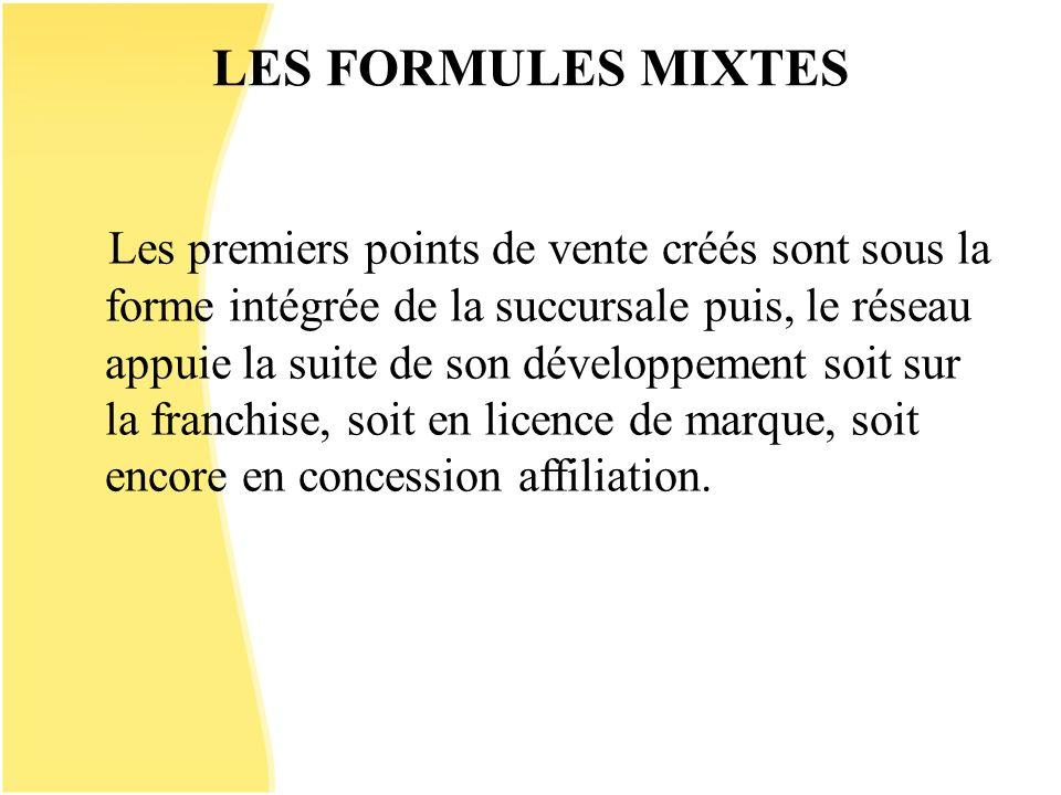 LES FORMULES MIXTES Les premiers points de vente créés sont sous la forme intégrée de la succursale puis, le réseau appuie la suite de son développeme