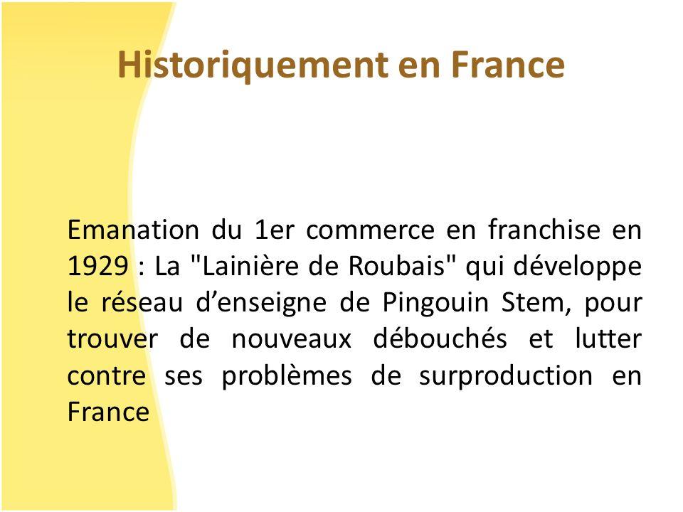 Historiquement en France Emanation du 1er commerce en franchise en 1929 : La