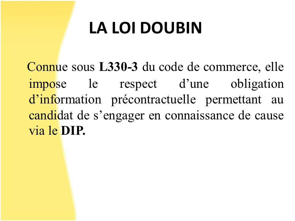 LA LOI DOUBIN Connue sous L330-3 du code de commerce, elle impose le respect dune obligation dinformation précontractuelle permettant au candidat de s