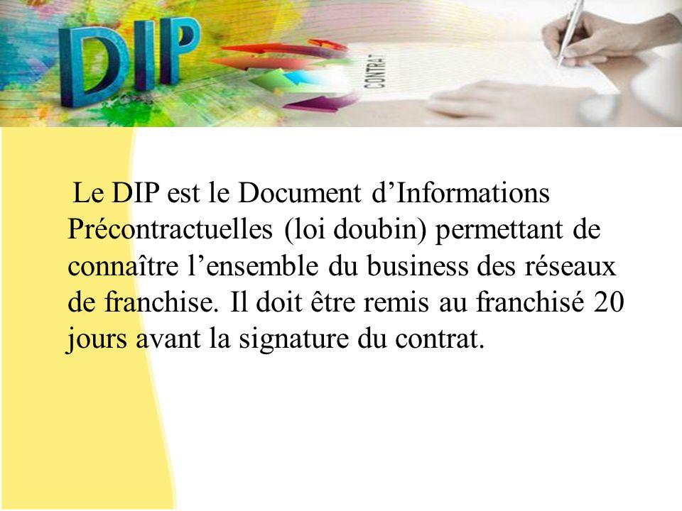 Le DIP est le Document dInformations Précontractuelles (loi doubin) permettant de connaître lensemble du business des réseaux de franchise. Il doit êt